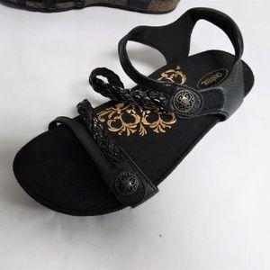 Women's Black Velcro Closure Aetrex Sandal Sz 9